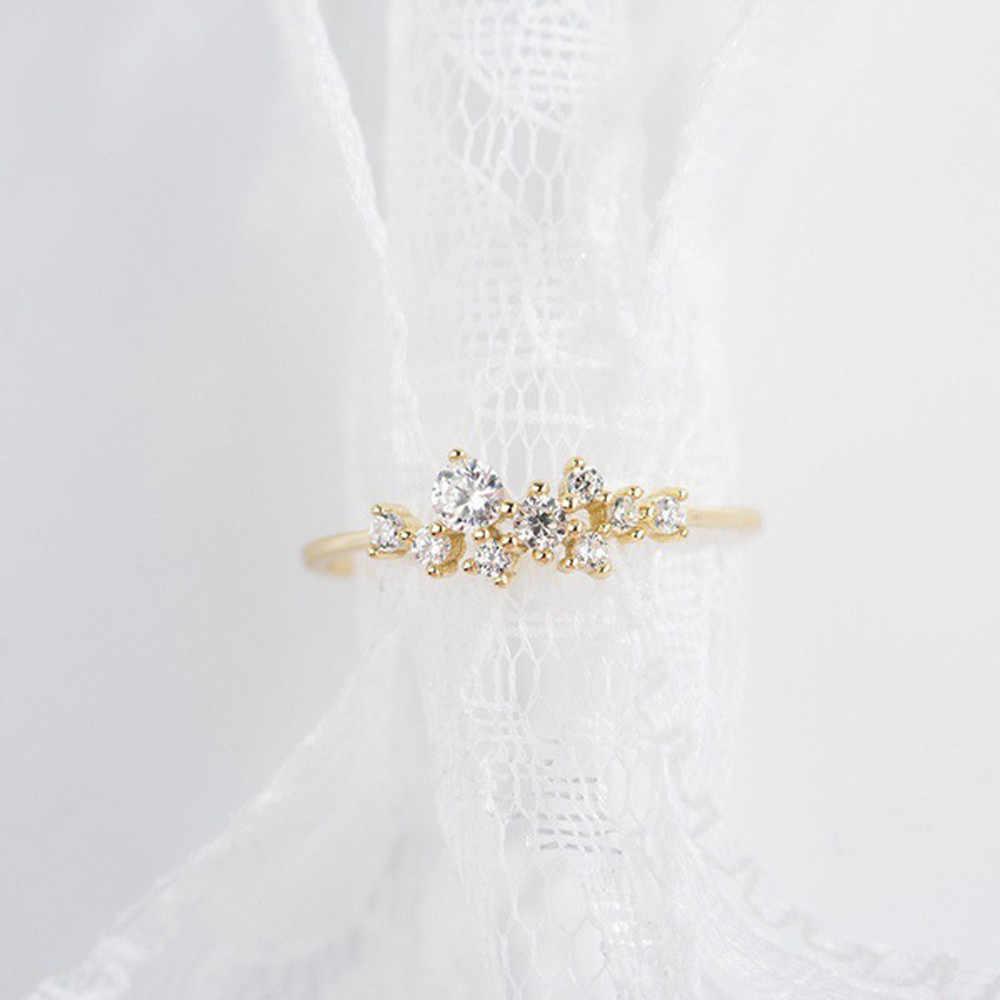 De cristal Simple 3 anillo de diamantes de imitación circonio Simple anillos para las mujeres anti alérgico regalo de San Valentín кольцо женское FJSL