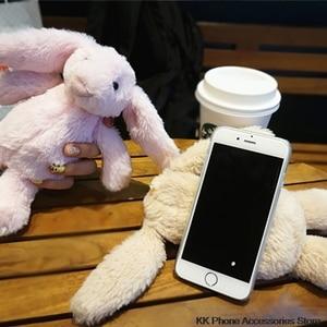 Image 2 - 3D чехол с кроликом для iPhone 11 Pro Max 6 6s 7 8 Plus X XR XS, пушистый чехол с кроличьим мехом для Samsung S20 Note 10 + S10 S8 S9 S7 S6
