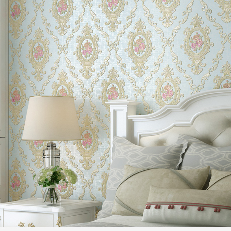 European Style Warm Pastoral Style Wallpaper Living Room Bedroom Wall-to-Wall 3D Coining Marriage House Wall-to-Wall TV Backdrop