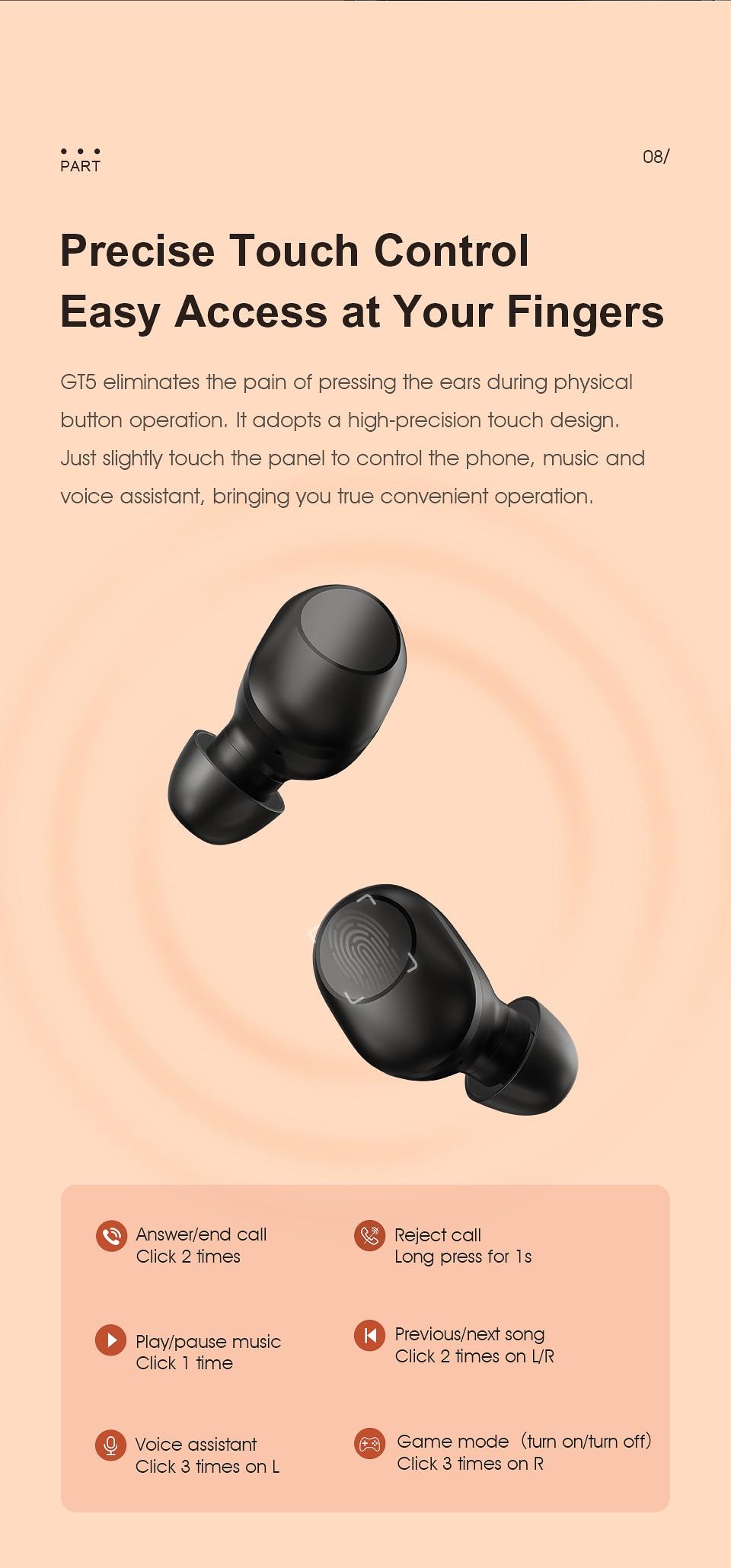 Haylou GT5 True Wireless Earbuds V5.0 Ultra-Low Latency 25Hrs Playtime buy online in pakistan