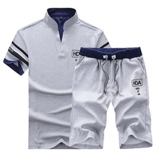 Clothing Men Suit Shorts Sporting-Suits T-Shirt 2piece-Set Fitness Male Summer Casual