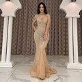 Женское вечернее платье с юбкой годе, длинное платье из тюля с бусинами и глубоким V-образным вырезом, без рукавов