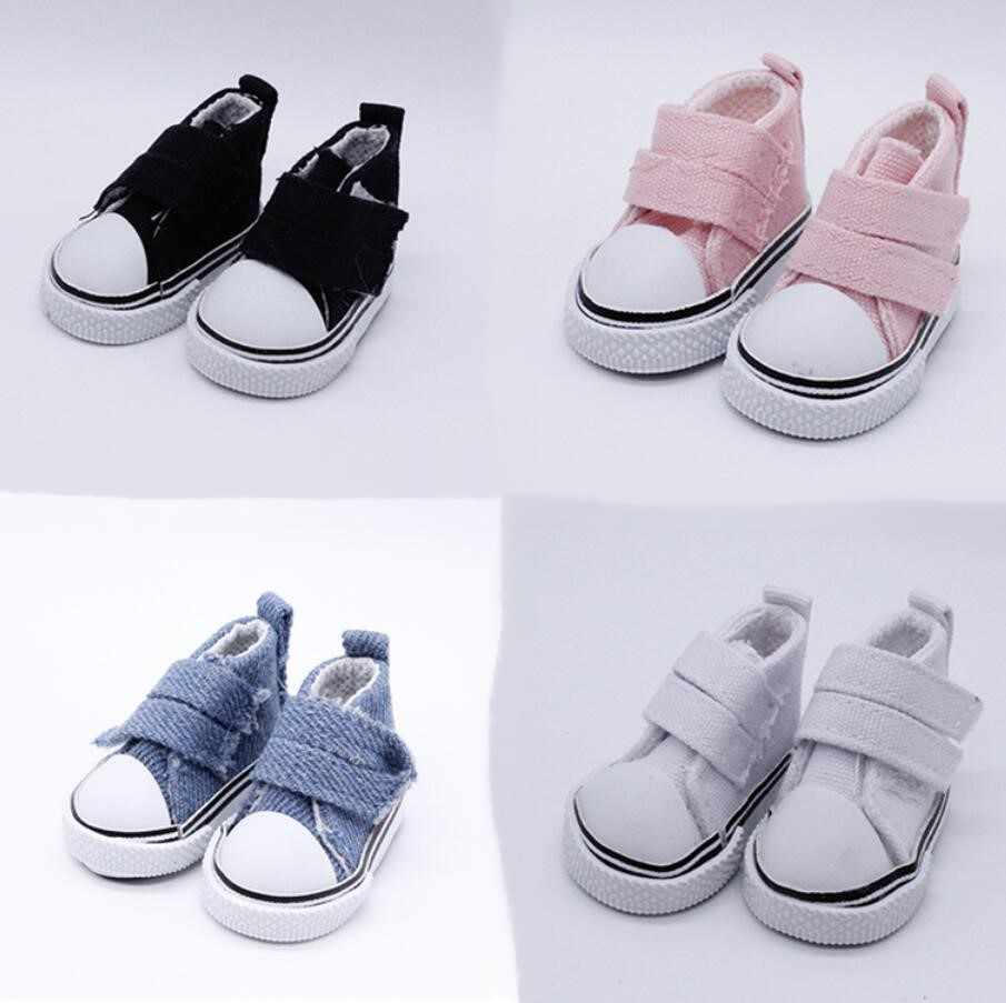 1Pair 5cm Doll Shoes Denim Sneakers For Dolls Fashion Denim Canvas Mini Toy Shoes 1/6 For Handmade Doll