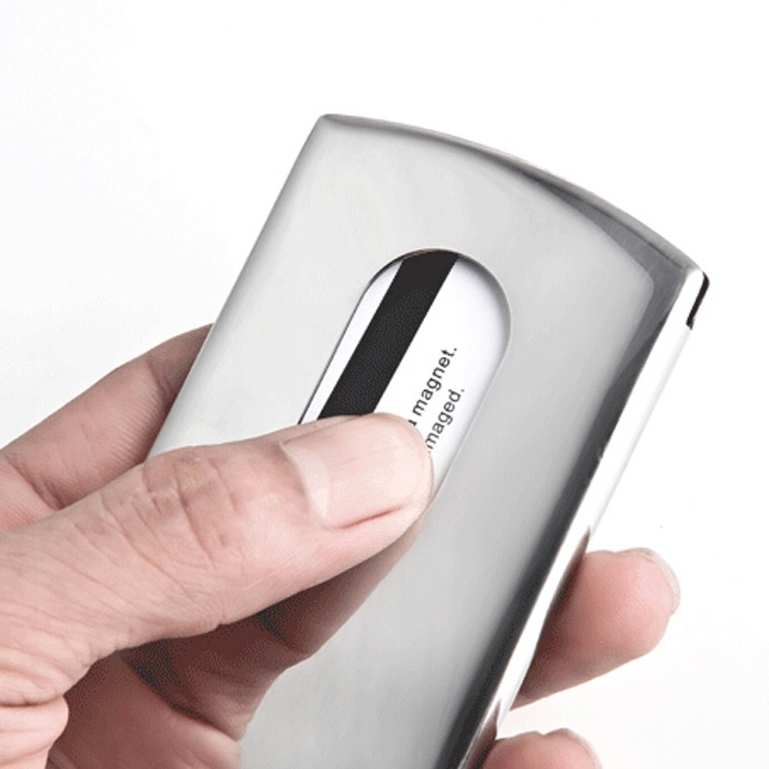 Thumb Slide Out Pocket Credit ID Card Holder Case Stainless Steel Wonderful Touch Ergonomics Slip ID Card Huge Capacitance