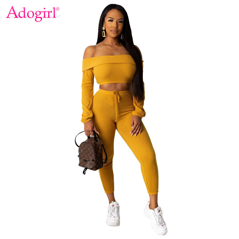 Adogirl 2020 Spring Casual Ribbed Two Piece Set Folded Slash Neck Long Sleeve Crop Top Pencil Pants Women Fashion Suit Outfits