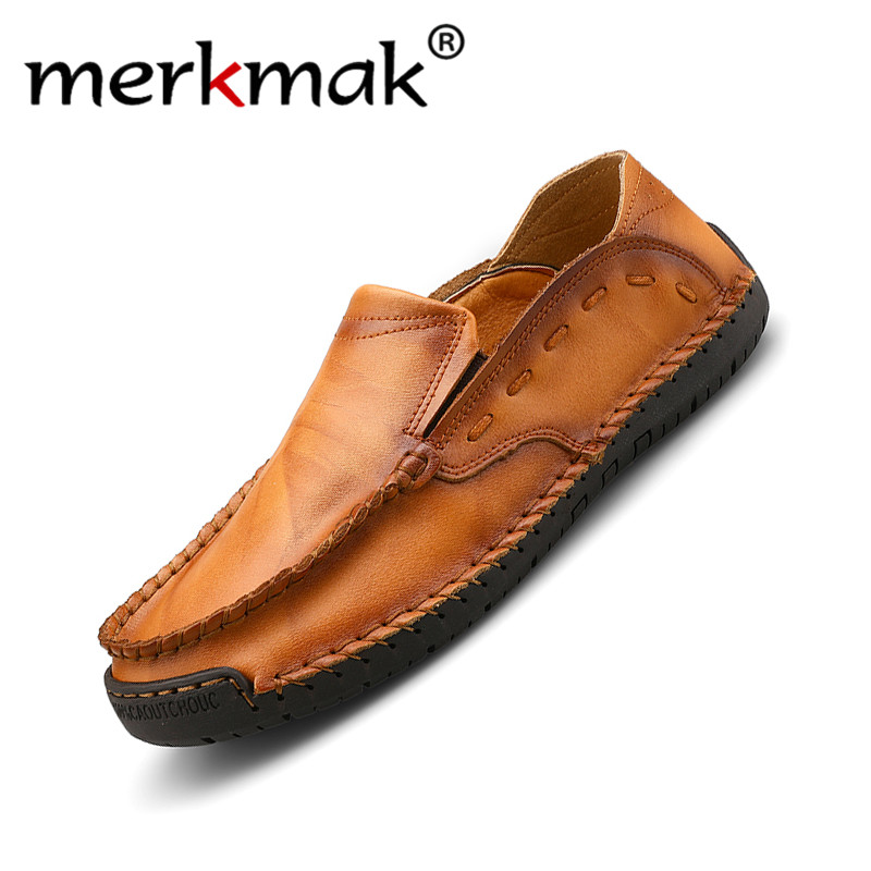 Merkmak Fashion Leather Men Shoes Casual Breathable Loafers Men Leather Moccasins Comfortable Flat Men Shoes Driving Footwear
