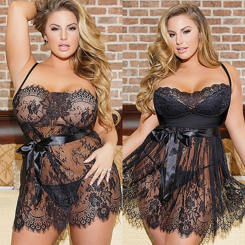 Plus Size Nightwear Sexy Transparent Lace Black Lingerie Underwear Perspective Off Shoulder Sleepwear Stimulative Sex Clothing