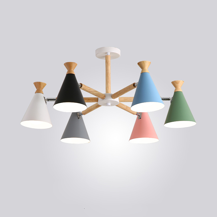 Nordic Living Room Dining Room Led Creative Bedroom Modern Solid Wood Household Colorful Macaron Candy Chandelier Lamp