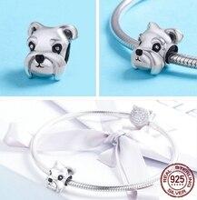 MOWIMO 925 Sterling Silber Tier Schnauzer Hund Charme Perlen Fit Original Silber Armbänder & Halsketten Frauen DIY Schmuck BKC835