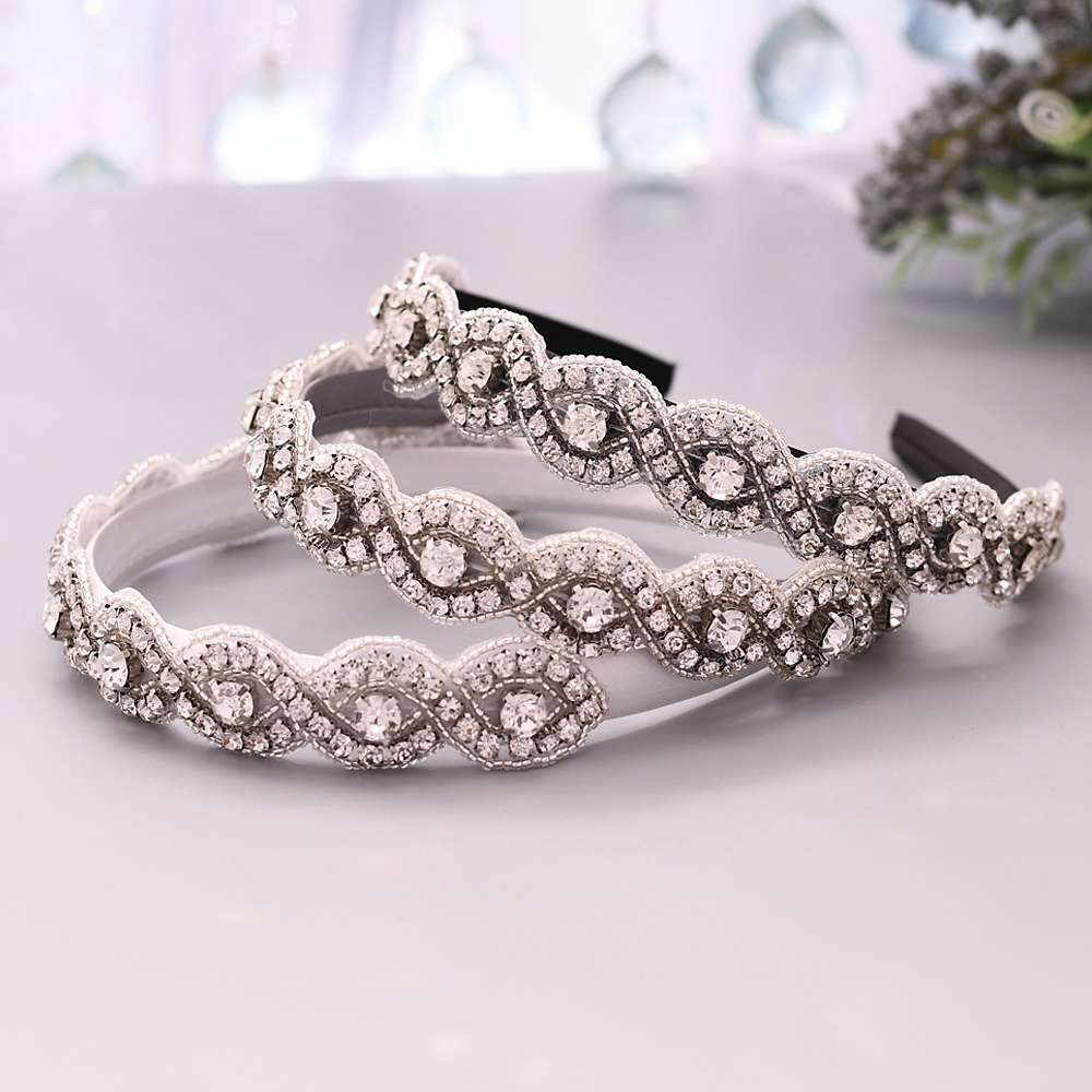 TRiXY S28-FG Women Hair Accessories Thin Baroque Headband Wedding Crown Rhinestone Bridal Tiara Luxury Vintage Crystal Hairband