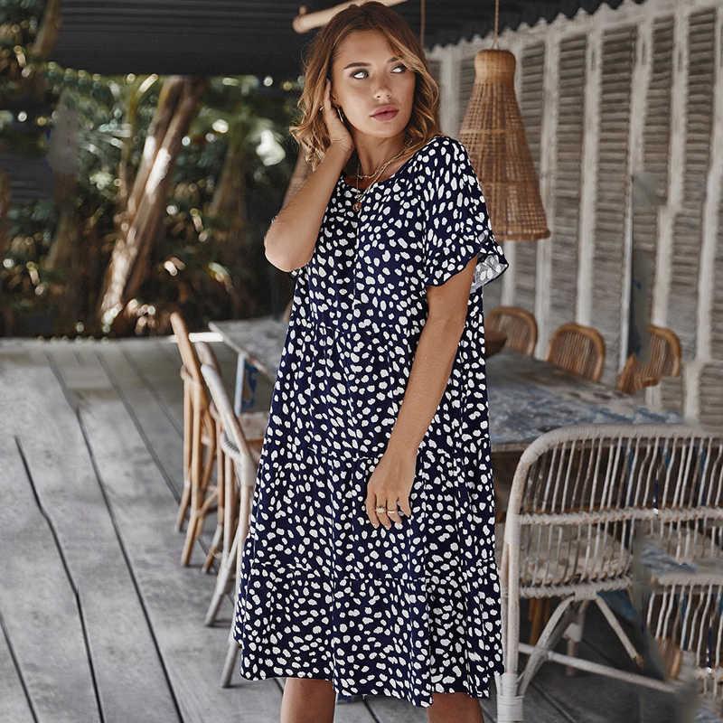 2020ฤดูร้อนผู้หญิงMidiชุดแขนสั้นOneckหลวมDotพิมพ์สูงเอวสุภาพสตรีVestidos Mujer