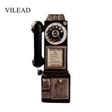 VILEAD 30cm resina teléfono Retro figuras sucia artesanía Vintage hogar Decoración adornos creativo Europea accesorios para manualidades