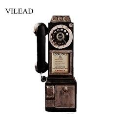 VILEAD 30cm reçine Retro telefon figürleri eski kirli el sanatları eski ev dekor süsler yaratıcı avrupa el sanatları aksesuarları