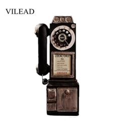 Vilead 30 Cm Resin Retro Telepon Patung-patung Tua Kotor Kerajinan Vintage Dekorasi Rumah Ornamen Kreatif Eropa Kerajinan Aksesoris