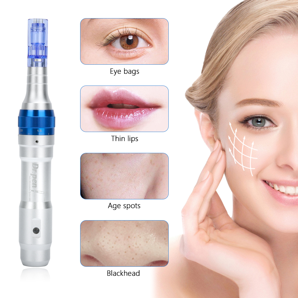 Ultima A6 Electric Derma <font><b>Pen</b></font> with 12Pin Needles Stretch Marks Wrinkle Remove Eyebrows Eyeliner Lips Tattoo Micro Needling Tool image