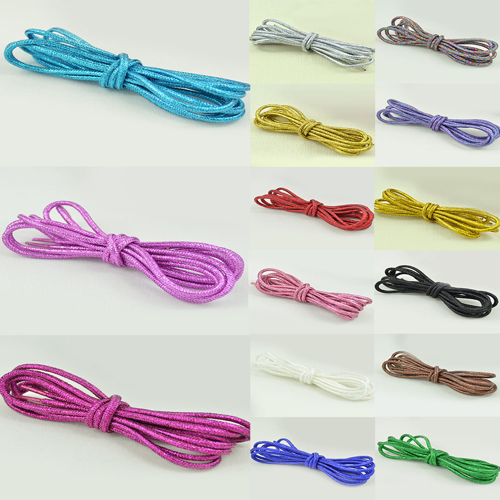 1 Pair Fashion Magic Reflective Shoe Laces Gold Silk Pearl Light Round Shoelace Quality Nylon Safety Outdoor Sports Shoelace Hot