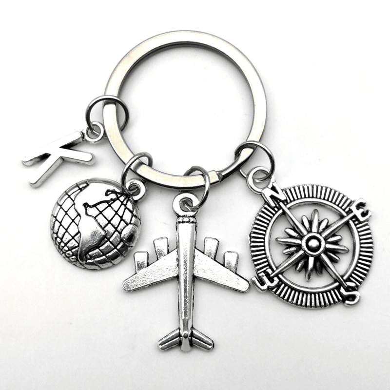 Hot Sale Creative 26 Letter Commemorative Gift Keychain Compass Earth Travel Airplane Keychain Unique Keychain World Travel Gift