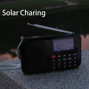 Image 3 - جديد الطاقة الشمسية المحمولة FM جيب سماعات راديو صغيرة تعمل لاسلكيًا مشغل موسيقى مع مصباح يدوي ، مؤقت النوم ، دعم بطاقة TF