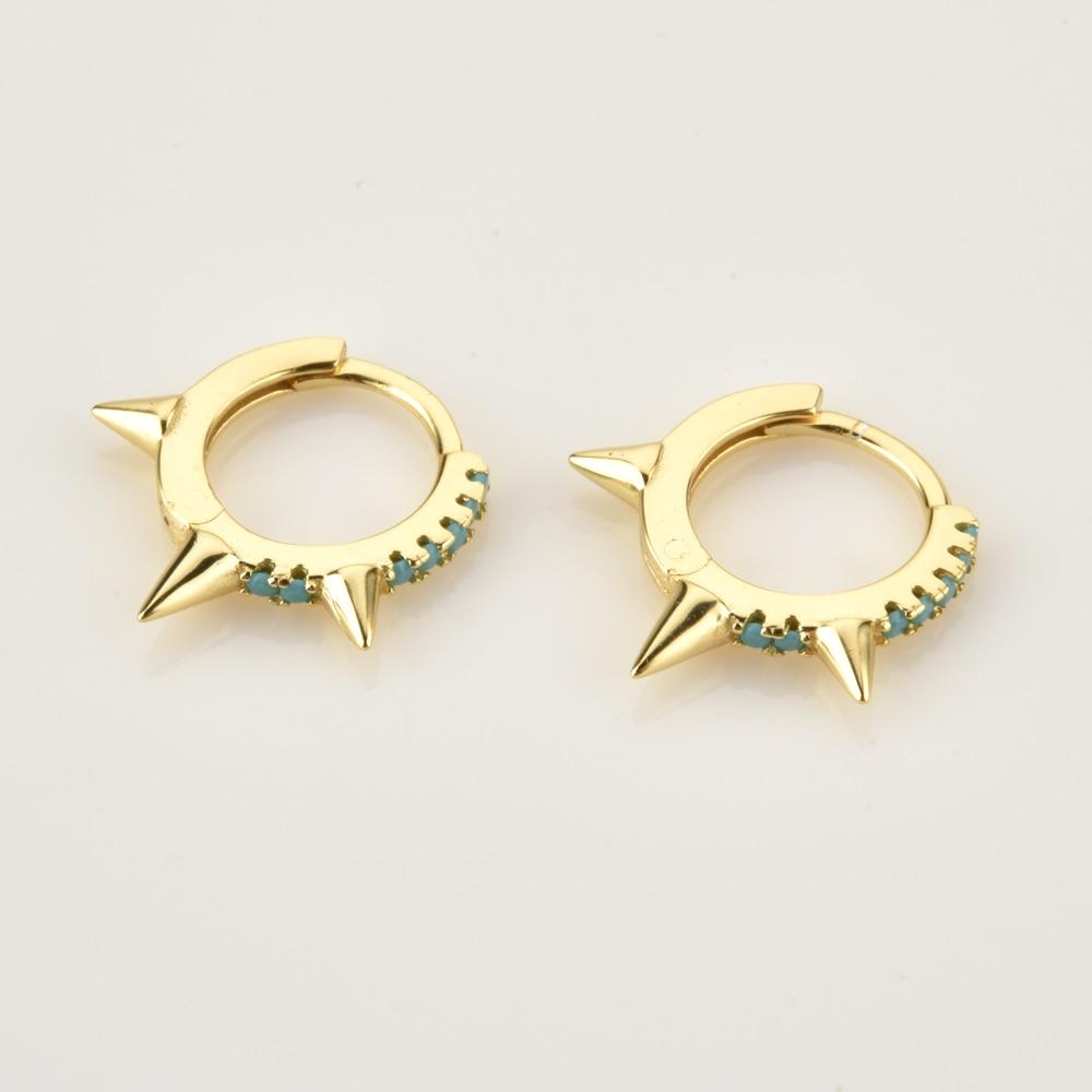 ANDYWEN 925 Sterling Silver 7.3mm Spike Pave Huggie Earrings Mini Hoops Women Crystal Luxury Circle Ring Loops Jewelry
