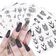 12 sztuk woda kalkomanie kwiatowy biżuteria paznokci naklejki czarny geometria Hollow wzory suwaki do ozdabianie paznokci Manicure JISTZ766 778