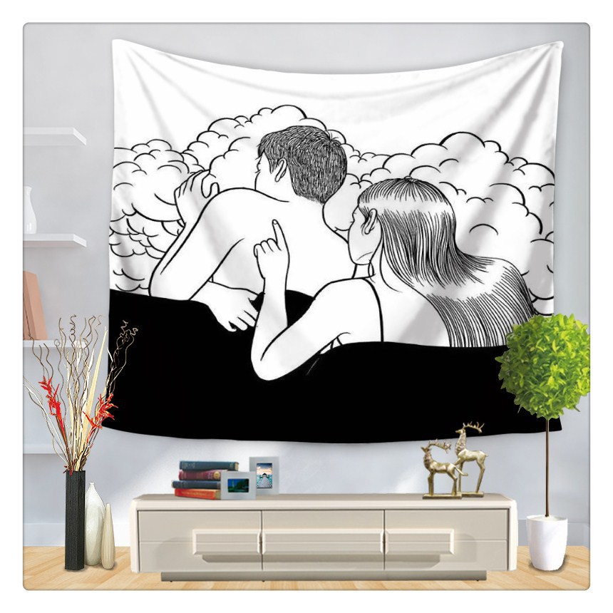 Cartoon Art Wall Tapestry Black And White Background Cloth Wall Carpet Hanging Home Decor Beach Mat 75*90cm GT-0015
