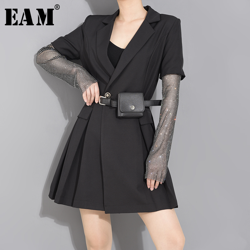 [EAM] Women Black Rhinestones Stitch Suit Dress New Round Neck Long Sleeve Loose Fit Fashion Tide Spring Summer 2020 1S54801S
