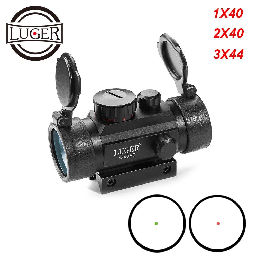 1X40 2X40 3X44RD Red Green Dot Sight Scope Tactical Optics Riflescope Fit 11/20mm Rail Collimator Sight Gun Hunting Rifle Scope