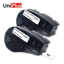 UniPlus 2PCS Labeling Tapes M21 750 499 Replacement for Brady BMP21-Plus Nylon Black on White IDPAL LABPAL Label Printer Maker