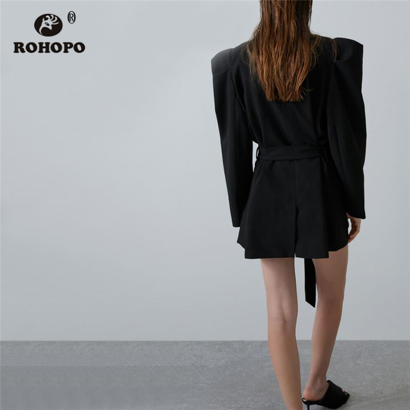 ROHOPO Notched Collar Puff Long Sleeve Black Long Blazer Waistband Double Breast Slim Solid Chic Party Outwear #2568
