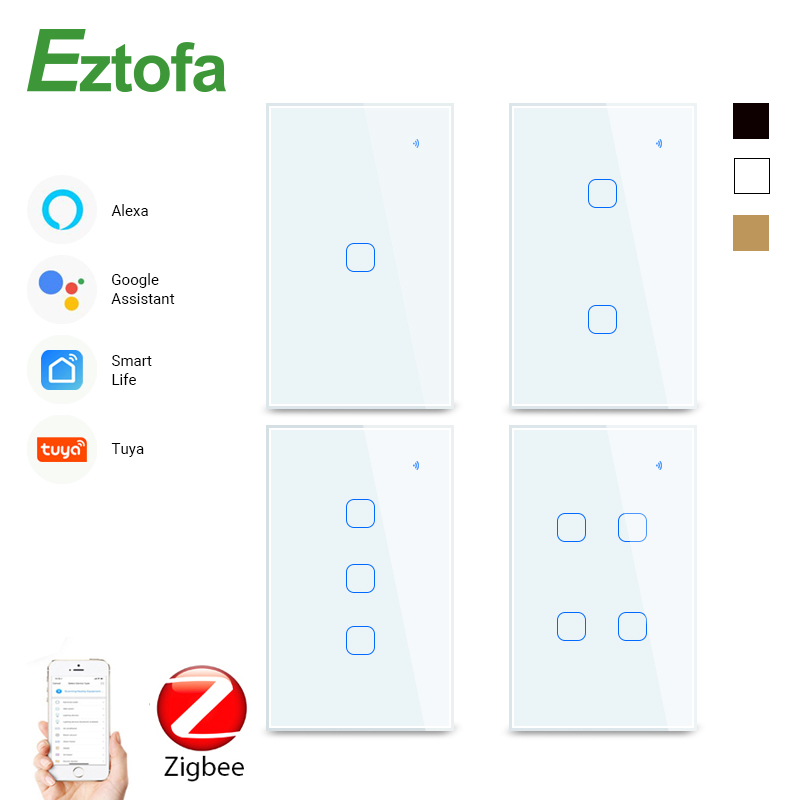 1234 Gang 2/3Way WiFi Touch Switch AC 100v220v Wall Light Switch Smart Home Zigbee Wireless Remote Control Tuya App US Standard