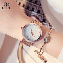 Top Brand Women Watches Ladies Nesh Strap Watch Analog Wrist Watch Simple Watches Rhinestones Dress Woman Watch Rose Gold Clock guou womens watches waterproof fashion dress ladies wrist watch simple date dial clock rose gold watch female pink black purple