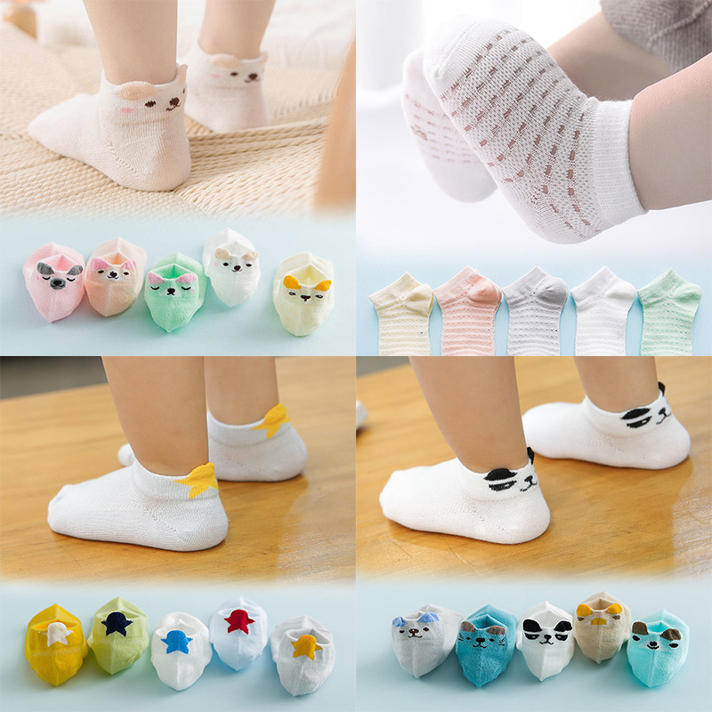 5 Pairs/lot Baby Socks Newborn Spring Summer Mesh For Girls Boys Cotton Breathable Infant Casual Cartoon Toddler Socks