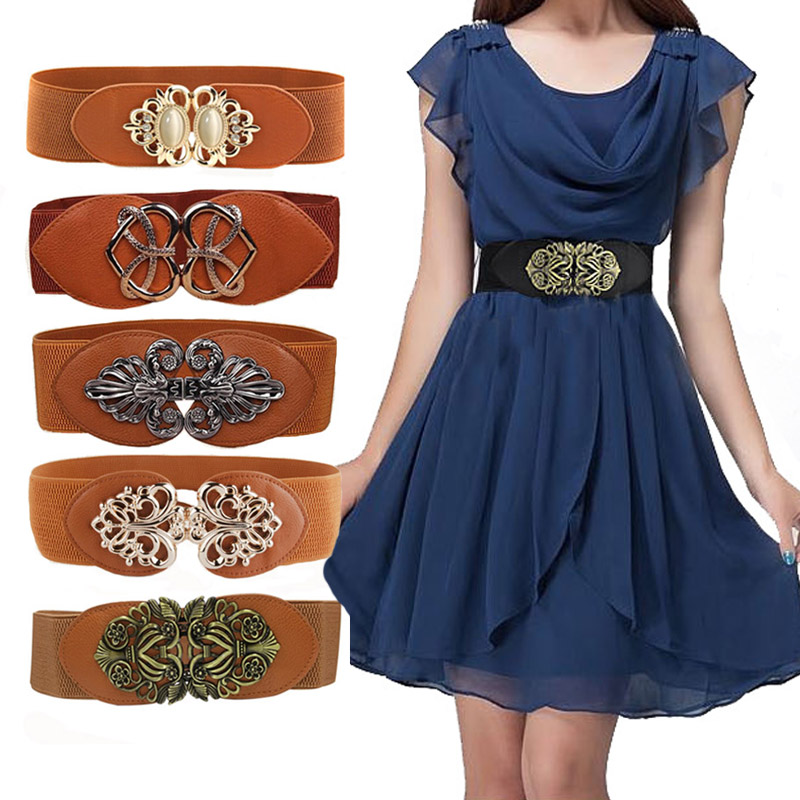 21 Types New Women Elastic Wide Belt Thick Vintage Totem Print Stretch Leather Waist Belt For Dress Corset Cinch Waistband Z30