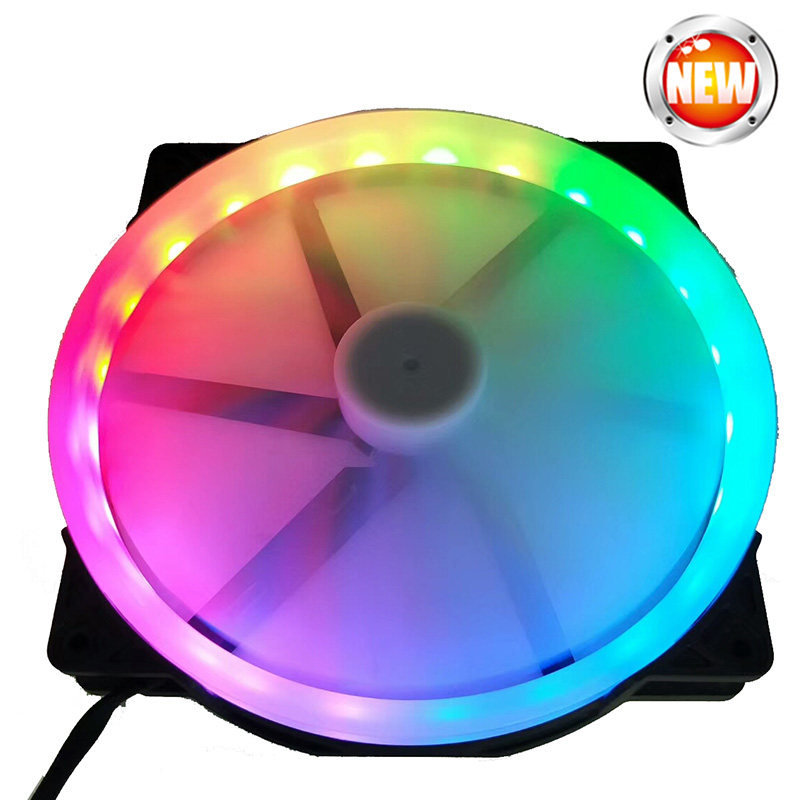 20cm Big Fan RGB Circle Led Fan Automatically Switch Silent For Computer Case 20025 Fan RGB 12v Molex 4pin Cooling Fan