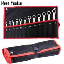 Practical Canvas Tool bag wrench tool roll up Foldable Spanner Organizer Pouch Case hand tool storage bag