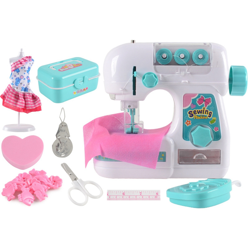 Mini Kid's Sewing Machine Electric Sewing Style Craft Kit Toys Simulation Interesting Toy with Model Suit for Kids