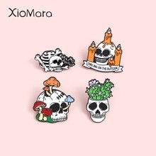 Świecznik czaszka emalia szpilki moda szkielet rośliny doniczkowe broszki Lapel odznaki hurtownie Punk broszka biżuteria prezenty dla przyjaciół