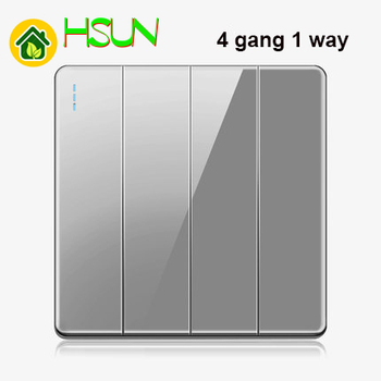 High-grade 1 2 3 4 gang 1 2 way big panel Grey switch socket Type 86 Wall 2.5D Cambered Mirror Toughened glass Computer TV 15