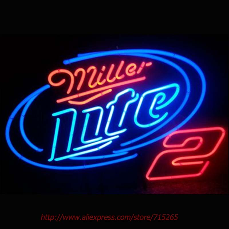 MILLER LITE 2 BEER Neon Light Signs Glass tube neon lamp For room Bedroom Decor Letters led lights grow lightBeer bar signs