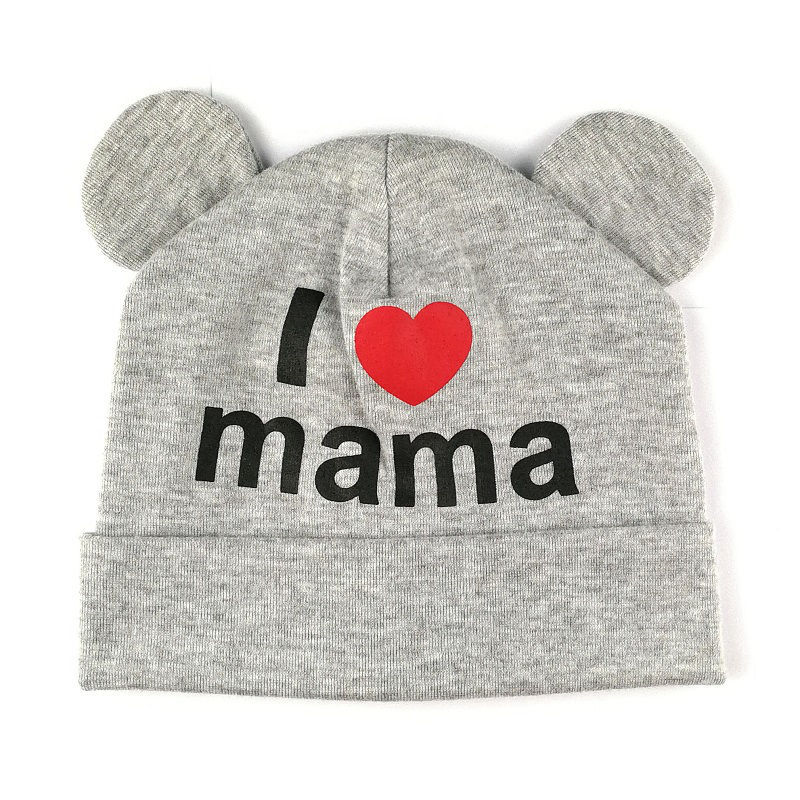 Cute Ear Baby Hat Newborn Boys Girls Cotton Beanie Cap Soft Autumn Winter Kids I Love mama papa Printed Caps