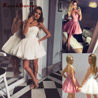 Hot Sale White Short Homecoming Dresses Sweetheart Corset Bodice Short Ball Gown Cocktail Dress Junior Prom Party Dress