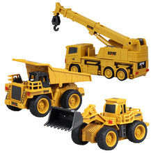 Create Toys Magic Mini Remote Control Engineering Car 8028 Exquisite Model 4 Through Bulldozer Crane Toy Remote Control Car(China)