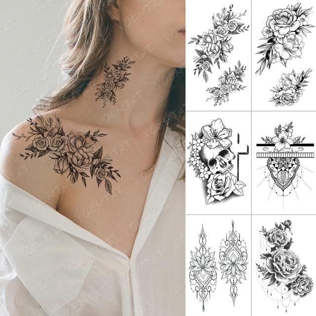 Waterproof Temporary Tattoo Sticker Cross Skull Flowers Flash Tattoos Rose Peony Body Art Arm Water Transfer Fake Tatoo Women