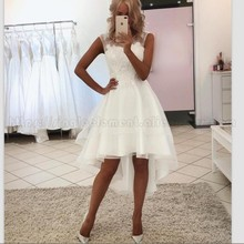 High Quality Wedding Dresses Short Front Long Back Sexy Hi Low Beach Bridal Gowns