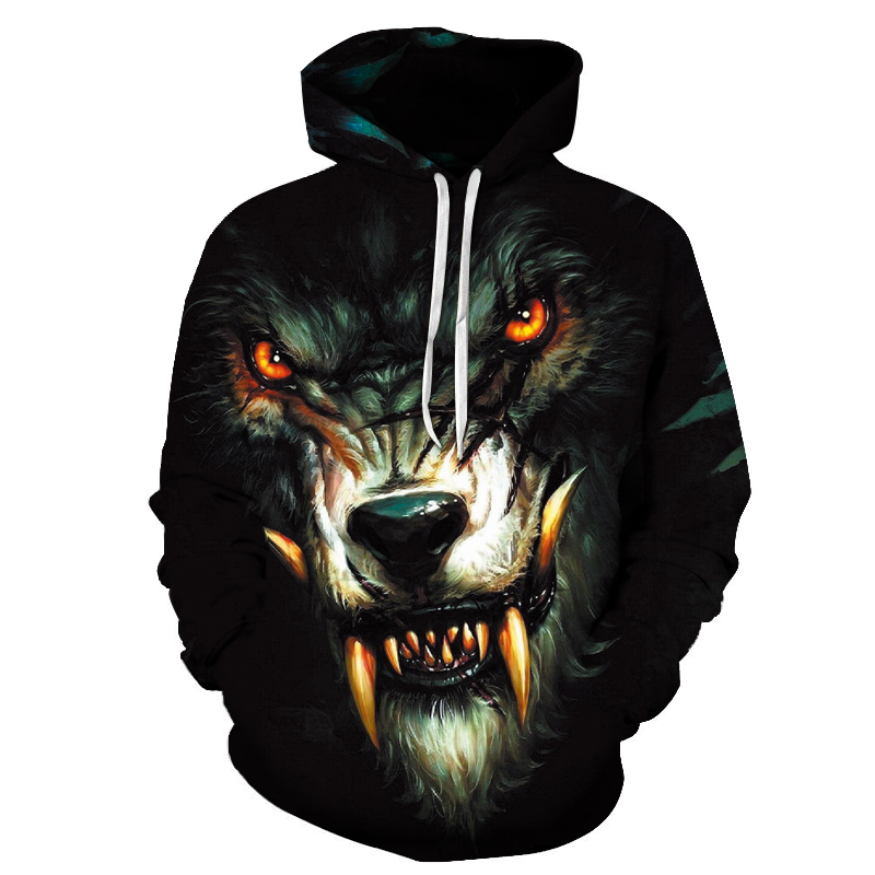 2020 New Men's Hoodie Fall Winter Fashion Hoodie Top Casual Brand 3D Wolf Head Hoodie Sweatshirt title=