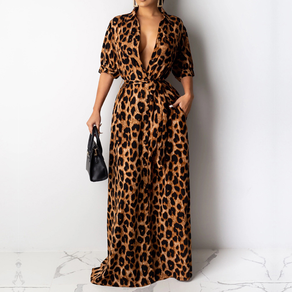Leopard Printed Women Long Dress 2019 Sexy Hot A Line Female Maxi Dresses Robe Party Club Half Sleeve Femme Vestiods African