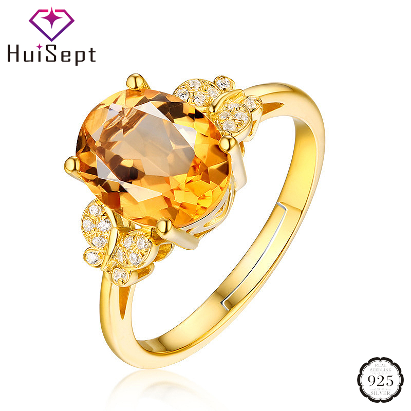 HuiSept Trendy 925 Silver Jewelry Gold Ring Oval Shape Citrine Zircon Gemstone Female Open Ring for Wedding Party Gift Wholesale