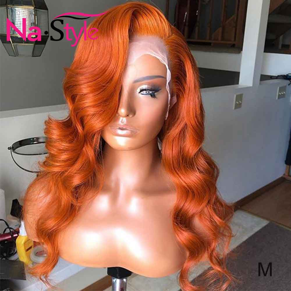 Orange Human Hair Wig 13x6 Lace Front Human Hair Wigs Pre Plucked 130% Body Wave Brazilian Human Hair For Black Women Remy