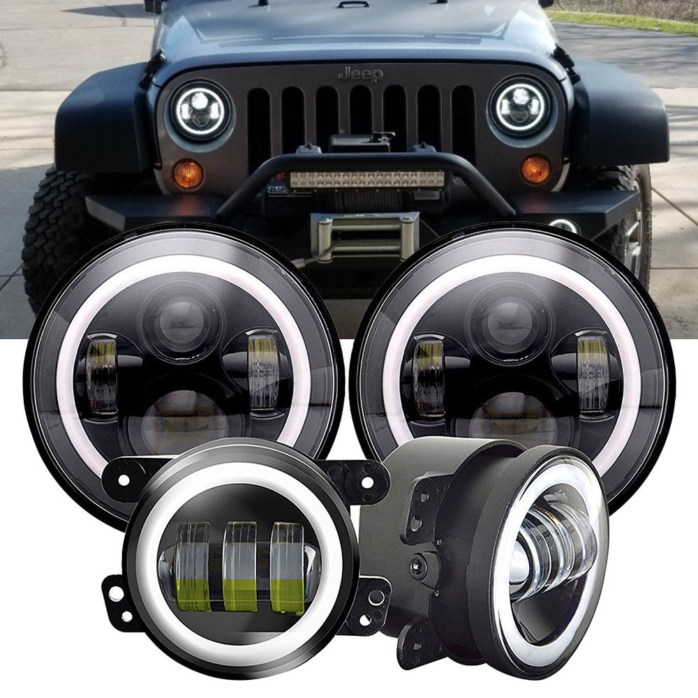 For Jeep Wrangler Halo 7inch Led Headlight With 4inch Led Fog Light Set For Jeep JKWrangler JKU Accessories 2007-2018 1
