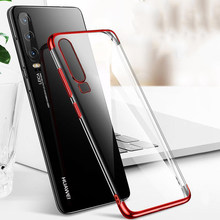 Plating Edge Silicone Case For Huawei Honor 20 10 10i P Smart 2019 P Smart Z Plus P20 Lite P30 Pro V20 Transparent TPU Soft Case(China)